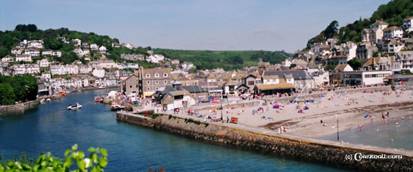 Looe beach harbour view
